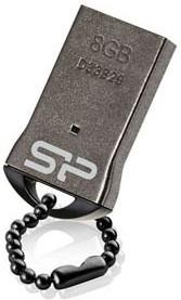 Флешка USB SILICON POWER Touch T01 8Гб, USB2.0, черный и серебристый [sp008gbuf2t01v1k]
