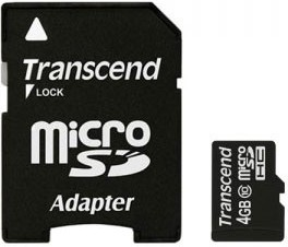 Фото 1/2 TS4GUSDHC10, Карта памяти Transcend 4GB microSDHC Class10 w/ adapter