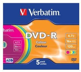 Фото 1/2 Оптический диск DVD-R VERBATIM 4.7Гб 16x, 5шт., slim case, разноцветные [43557]