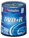 Фото 1/3 Оптический диск DVD+R VERBATIM 4.7Гб 16x, 100шт., cake box [43551]