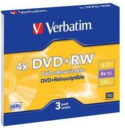 Фото 1/2 Оптический диск DVD+RW VERBATIM 4.7Гб 4x, 3шт., slim case [43636]