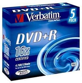 Фото 1/3 Оптический диск DVD+R VERBATIM 4.7Гб 16x, 5шт., slim case, разноцветные [43556]
