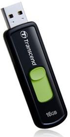 Флешка USB TRANSCEND Jetflash 500 16Гб, USB2.0, черный и зеленый [ts16gjf500]