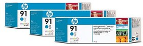 Тройная упаковка картриджей HP №91 C9483A, голубой