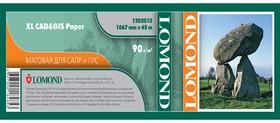 """Бумага Lomond 1202113 42""""(A0+) 1067мм-45м/90г/м2/белый матовое для струйной печати"""