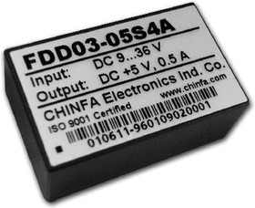 FDD03-05S4A, DC/DC преобразователь, 3Вт, вход 9-36В, выход 5В/500мА