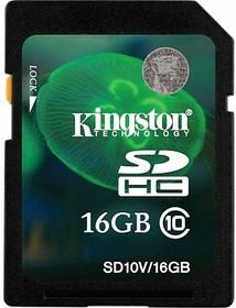 Карта памяти SDHC KINGSTON 16 ГБ, Class 10, SD10VG2/16GB, 1 шт.