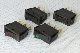 Фото 1/2 Клавишный выключатель с зелёной подсветкой 12В/20А, c фиксацией, 652 ПКл\ 3T\20А12В\ON-OFF\ ILСДзел\IRS101E-1C12V