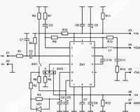 Рисунок 3. Схема расположения элементов на плате и подключение усилителя NM2042.