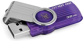 Фото 1/2 Флешка USB KINGSTON DataTraveler 101 G2 32Гб, USB2.0, фиолетовый [dt101g2/32gb]