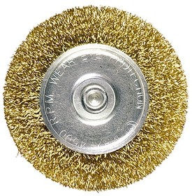 Фото 1/3 74446, Щетка для дрели, 60 мм, плоская со шпилькой, латунированная витая проволока
