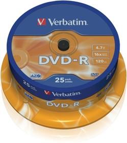 Фото 1/2 Оптический диск DVD-R VERBATIM 4.7Гб 16x, 25шт., cake box [43522]