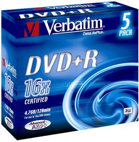 Фото 1/2 Оптический диск DVD+R VERBATIM 4.7Гб 16x, 5шт., slim case, разноцветные [43556]