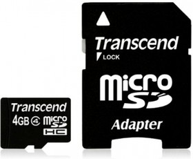 Карта памяти microSDHC TRANSCEND 4 ГБ, Class 4, TS4GUSDHC4, 1 шт., переходник SD