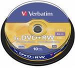 Фото 1/3 Оптический диск DVD+RW VERBATIM 4.7Гб 4x, 10шт., cake box [43488]