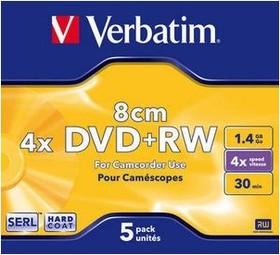 Оптический диск DVD+RW VERBATIM 1.46Гб 4x, 5шт., jewel case [43565]
