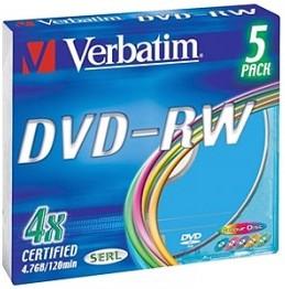 Фото 1/2 Оптический диск DVD-RW VERBATIM 4.7Гб 4x, 5шт., slim case, разноцветные [43563]