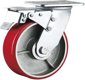 Большегрузное колесо с полиуретановой шинкой С-4102-DUS поворотное, с тормозом, г/п 800 к 00018527