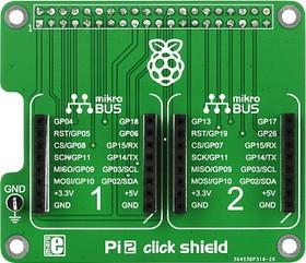 Фото 1/5 MIKROE-1879, Pi 2 click SHIELD, Плата расширения для подключения модулей mikroElektronika серии click (mikroBUS) к Raspber Pi B+/ 2