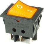 IRS-202-3C3-Y/B, Переключатель с подсветкой 2хON-ON (15A 250VAC) DPDT 6P, черный корпус/желтая клавиша