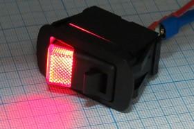 Фото 1/4 Клавишный выключатель с красной подсветкой 12В/21А, c замком фиксатором, ПКл\ 3T\21А12В\OFF- ON(фиксатор) \\ILкр\R13-260A9BR\