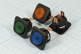 Фото 1/2 Клавишный выключатель синий,с подсветкой 12В/25А, c фиксацией, 2096 ПКл\ 3T\25А12В\ON-OFF\ d24\ILсин\R130-203B