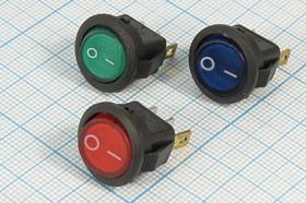 Фото 1/2 Клавишный выключатель зелёный,с подсветкой 12В/3А, c фиксацией, 2259 ПКл\ 3T\3А12В\ON-OFF\d14,5\ ILзел\SMRS101N2C3