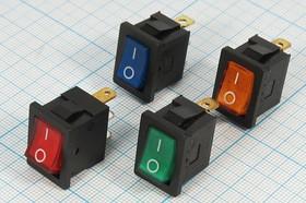 Фото 1/2 Клавишный выключатель с зелёной подсветкой 220В/6А, c фиксацией, 1721 ПКл\ 3T\6А\ON-OFF\\ ILжел\MIRS101-2