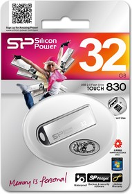 Флешка USB SILICON POWER Touch 830 32Гб, USB2.0, серебристый [sp032gbuf2830v1s]