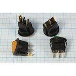 Фото 2/2 Клавишный выключатель с зелёной подсветкой 220В/6А, c фиксацией, 1495 ПКл\ 3T\6А\ON-OFF\d20,0\ ILзел\MIRS101-8