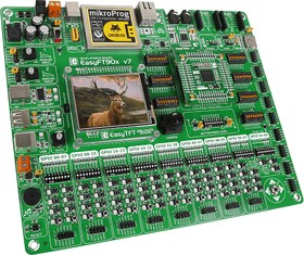 Фото 1/9 MIKROE-1770, EasyFT90x v7 Development System, Полнофункциональная отладочная плата для изучения МК FTDI 32-бит FT900