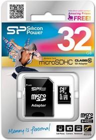 SP032GBSTH010V10-SP, Карта памяти Micro SD 32ГБ, переходник SDHC, Class 10.