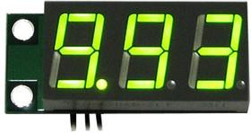 SVH0001UG-10, Цифровой встраиваемый вольтметр 0..9,99В, ультра яркий зеленый индикатор