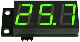 SVH0001UG-100, Цифровой встраиваемый вольтметр 0..99,9В, ультра яркий зеленый индикатор