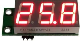 SVH0001UR-100, Цифровой встраиваемый вольтметр 0..99,9В, ультра яркий красный индикатор