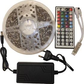 LD12, Светодиодная лента RGB 60SMD(5050)/m с контроллером, пультом, блоком питания,12В, 5 метров