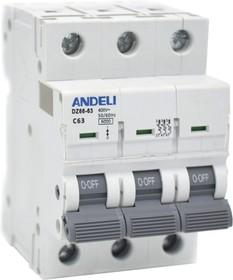 Авт, выкл, DZ66-63/3P 16A 6kA х-ка C (ANDELI)