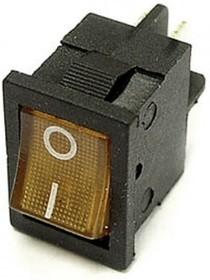 MIRS-201A-2C3 (желтый), Переключатель с подсветкой ON-OFF (10A 125VAC, 6A 250VAC, 15A 12VDC) DPST 4P