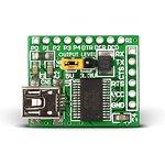 MIKROE-483, USB UART Board, Плата преобразователя интерфейса USB UART на базе FT232R