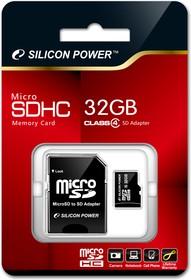 Карта памяти microSDHC SILICON POWER 32 ГБ, Class 4, SP032GBSTH004V10-SP, 1 шт., переходник SD