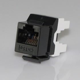 HYC-K18112, Розетка Keystone 8P8C (RJ-45) CAT.5e, черная (PUNCH DOWN)