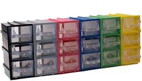 Фото 1/2 К4, Ячейки, цветной корпус прозрачный контейнер 3 секции, 49х82х100мм