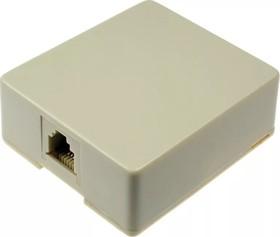 TJC6P4C-W, Розетка RJ-14 телефонная на стену, 1 гнездо , белая (SS324) | купить в розницу и оптом