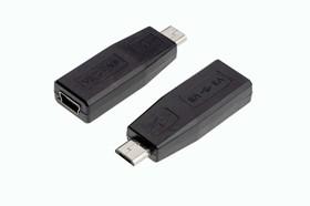 Mini USB-F - micro USB-M, Переходник питания USB-мини розетка - USB-микро вилка (2 пров.)