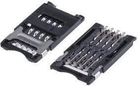 CCM03-3004LFT R102, Conn SIM/SAM M 8 POS 2.54mm Solder RA SMD 1A T/R