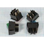 Фото 2/2 Клавишный выключатель 2-х полюсный с зелёной подсветкой 220В/15А, c фиксацией, 2524 ПКл\ 4T\15А\ON-OFF\22,5x30\ ILзел\IRS201-2A3