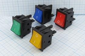 Фото 1/2 Клавишный выключатель 2-х полюсный синего цвета 220В/15А, c фиксацией, 268 ПКл\ 4T\15А\ON-OFF\27,2x21,5\ син/б/подсв\RS201-1C\