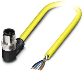 1424885, Sensor/Actuator cable, 5-position, PVC, yellow, Plug angled M12 SPEEDCON, A-coded, on free cable end