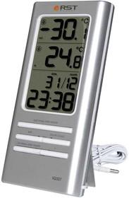 02307 RSTЦифровой термометр, дом/улица, часы, серебряный корпус. EAN 7316040023071