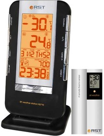 02710 RST Термометр цифровой с радио-датчиком, часы, прорезиненный корпус, календарь. EAN 7316040027109